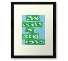 Max' bathroom comment (green) Framed Print