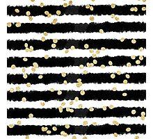 Modern black watercolor stripes chic gold confetti  Photographic Print