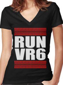 RUN VR6 tread Women's Fitted V-Neck T-Shirt