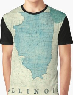 Illinois Map Blue Vintage Graphic T-Shirt