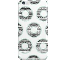 Black white handdrawn aztec donuts pattern mint green iPhone Case/Skin