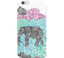 Boho paisley elephant hand drawn pastel floral mandala iPhone Case/Skin
