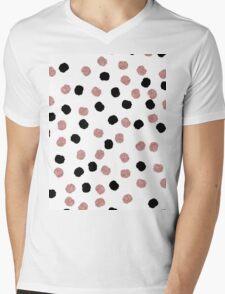 Modern rose gold black abstract brush polka dots Mens V-Neck T-Shirt