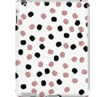 Modern rose gold black abstract brush polka dots iPad Case/Skin
