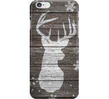Rustic deer antlers snowflakes brown wood iPhone Case/Skin