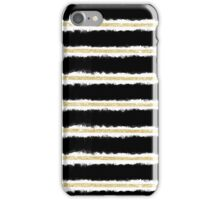 Stylish gold black handdrawn watercolor stripes  iPhone Case/Skin