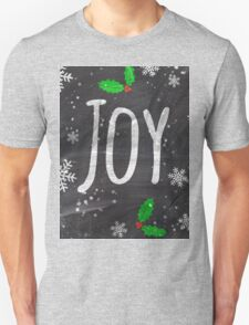 Holidays Joy typography snow black chalkboard  Unisex T-Shirt