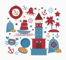 Sea and pirate icons Baby Tee