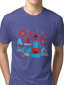 Sea and pirate icons Tri-blend T-Shirt