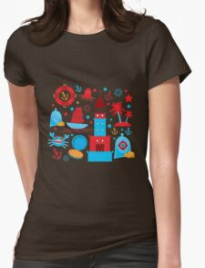 Sea and pirate icons Womens Fitted T-Shirt