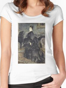 Auguste Renoir - Portrait of a Woman, called of Mme Georges Hartmann 1874 Woman Portrait Women's Fitted Scoop T-Shirt