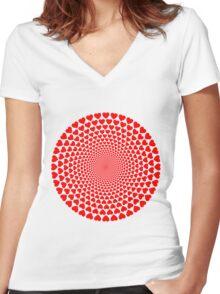 Hearts Vortex Women's Fitted V-Neck T-Shirt