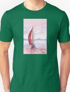 Sailing toward sunset Unisex T-Shirt