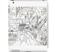 Hogwarts: stained glass style (black & white) iPad Case/Skin