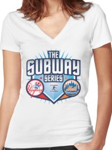THE SUBWAY SERIES YANKEES X METS Women's Fitted V-Neck T-Shirt