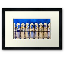 Sheikh Zayed Grand Mosque At Night Framed Print