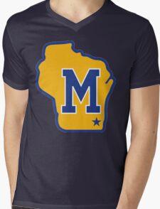 MILWAUKEE BREWERS LOGO Mens V-Neck T-Shirt