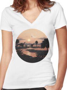 Jurassic Beach Women's Fitted V-Neck T-Shirt