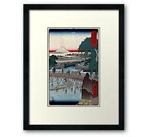 Ikkoku Bridge In the Eastern Capitol - Hiroshige Ando - 1858 - woodcut Framed Print