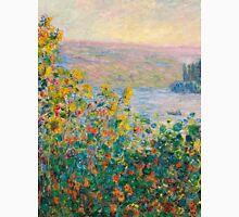 1881-Claude Monet-Flower Beds at Vétheuil-73 x 92 Unisex T-Shirt