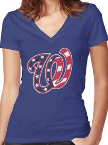 THE WASHINGTON NATIONALS Women's Fitted V-Neck T-Shirt