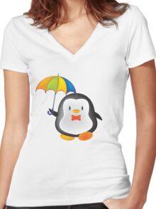umbrella penguin Women's Fitted V-Neck T-Shirt