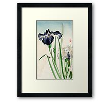 Irises - anon - 1900 - woodcut Framed Print