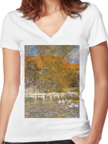 Auguste Renoir - The Duck Pond 1873 Landscape Women's Fitted V-Neck T-Shirt