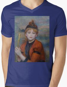Auguste Renoir - The Excursionist  1888 Woman Portrait Mens V-Neck T-Shirt