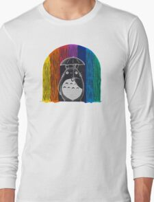 totoro rainbow rain Long Sleeve T-Shirt