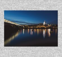 British Symbols and Landmarks - Silky Reflections Saint Paul's Cathedral and Blackfriars Bridge One Piece - Long Sleeve