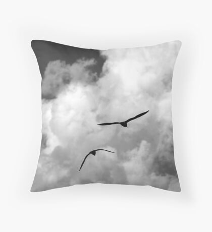 seagull fly in the sky Throw Pillow