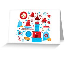 Sea and pirate icons Greeting Card