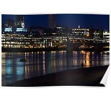 Strolling Down the Thames Riverbank Hand in Hand - Magical Night in London Poster
