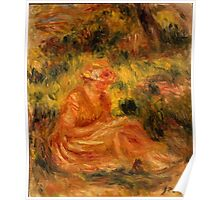 Auguste Renoir - Young Woman in a Landscape  1915 - 1919 Woman Portrait Poster
