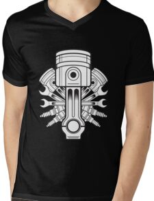 Piston lable Mens V-Neck T-Shirt