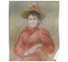 Auguste Renoir - Young Woman in Red Dress  1892 Woman Portrait Poster