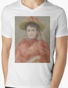 Auguste Renoir - Young Woman in Red Dress  1892 Woman Portrait Mens V-Neck T-Shirt