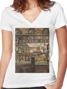 Egon Schiele - House Wall on the River 1915 Women's Fitted V-Neck T-Shirt