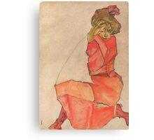 Egon Schiele - Kneeling Female in Orange-Red Dress 1910 Woman Portrait Canvas Print