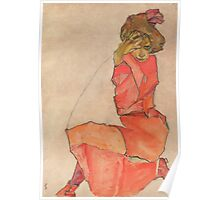 Egon Schiele - Kneeling Female in Orange-Red Dress 1910 Woman Portrait Poster