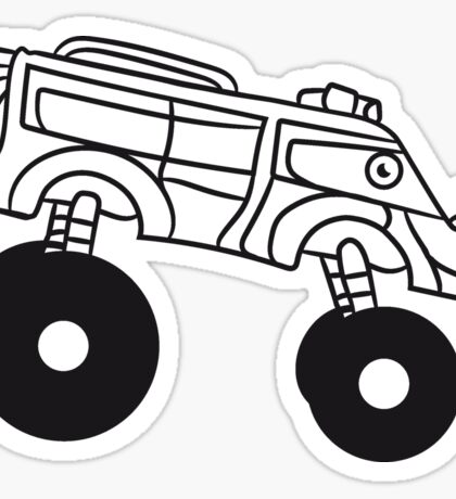 large cool monster truck comic eyes face cartoon cars turbo Sticker