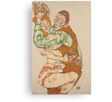 Egon Schiele - Lovemaking 1915 Woman Portrait Canvas Print