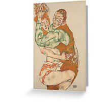 Egon Schiele - Lovemaking 1915 Woman Portrait Greeting Card