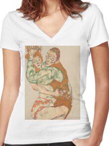 Egon Schiele - Lovemaking 1915 Woman Portrait Women's Fitted V-Neck T-Shirt