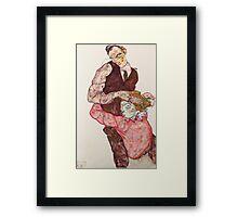 Egon Schiele - Lovers 1914-15 Woman Portrait Framed Print