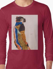 Egon Schiele - Moa 1911 Woman Portrait Long Sleeve T-Shirt
