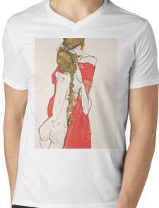 Egon Schiele - Mother and Daughter 1913 Woman Portrait Mens V-Neck T-Shirt