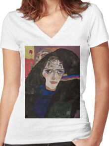 Egon Schiele - Mourning Woman 1912 Woman Portrait Women's Fitted V-Neck T-Shirt