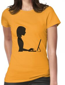 Female Computer Silhouette Womens Fitted T-Shirt